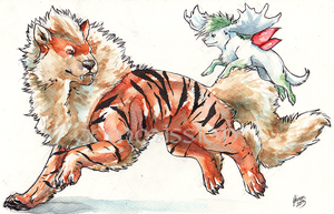 Commission: Arcanine and Shaymin