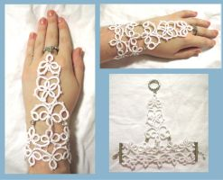 Tatted Wedding bracelets by EruwaedhielElleth