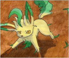 Leafeon use Razor Leaf by twilightlinkjh