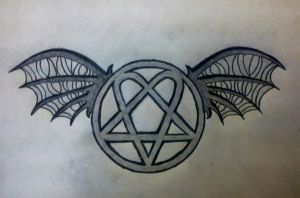 Heartagram Tatto on More Like Heartagram With Death Bat Wings Tattoo Design By  Davidevz