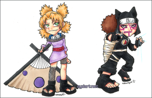 temari and kankuro chibis by shidonii