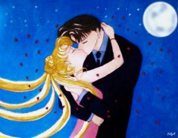 Usagi and Mamoru  everlasting kiss by Dolly-M00N