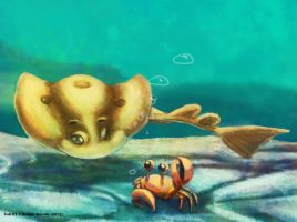 Weekly 1 - Ocellated Torpedo and Crab by Pink-Shimmer