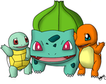Squirtle, Charmander, and Bulbasaur by RatedRawwr