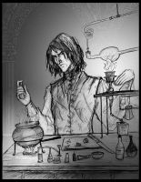 Snape doing potions by Hillary-CW