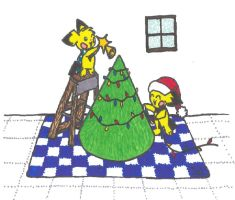 Pichu Christmas Traditional by Drabble-Monster