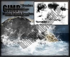 Water Splash Brushes GIMP SET 2 by FrostBo