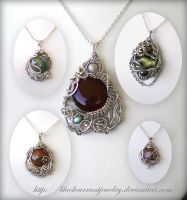 Five Pendants by blackcurrantjewelry