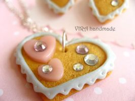 Cookie necklace and ear studs set by virahandmade