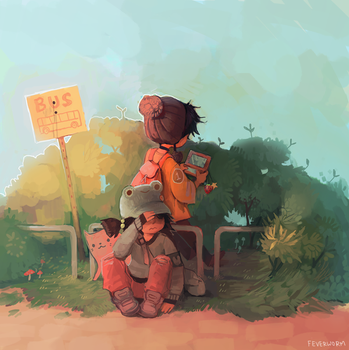 bus stop by Chaotic-Muffin