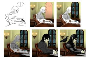 Severus and the crow step by step by Himitsu4Schuu