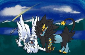 Mega Luxray and Mega Absol by TentacleF00