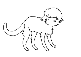 Sad Cat Lineart MS PAINT by dovepaw3000