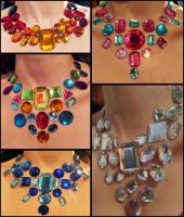 Rhinestone Bib Necklaces by Natalie526