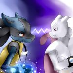Aaron and Splice - Lucario Vs. Mewtwo by dbzlover1998