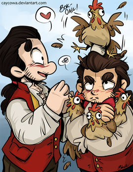 Gaston, LeFou and their children by caycowa