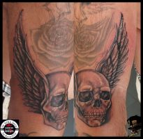 Free hand skull with wings by DarkArtsColective