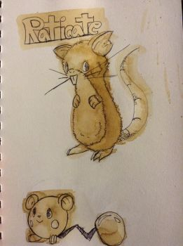 Raticate and azurill by CoffeeDoubleShot