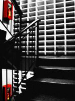 Red BW Stairway Picture by flavorfla