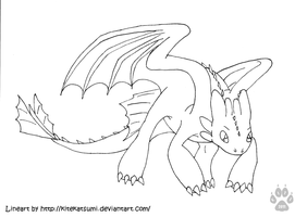 Free Night Fury Lineart by AnoOrca