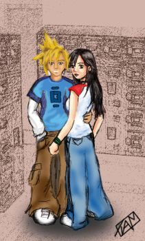 Cloud and Tifa in High School by ClimhazzardRush