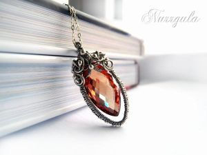 Love necklace from Silver with red Cubic Zirconia by nurrgula
