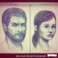 Joel and Ellie sketches by DoomCMYK