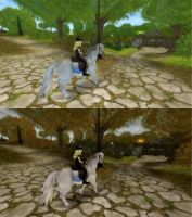 Autumn Ride Before After by Alizarinna