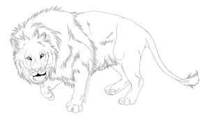 -Free Use- Lion Lineart by Kalenka