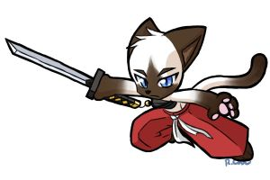 Samurai Siamese kitty attack by rongs1234