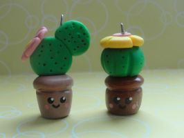 2 Kawaii Clay Cactuses by CraftyOlivia