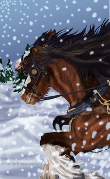 Shire Horses and Snowflakes - Collaboration by HuntressLight