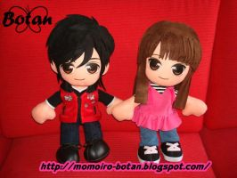 Takeru and Mako plush version by Momoiro-Botan