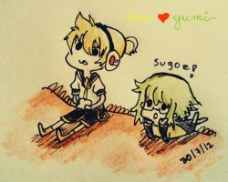 len and gumi by Maka-Lawliet