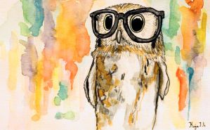 Owl with glasses by kakevampyr