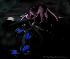 Curious Espeon and Shiny Umbreon by xTwilightWingsx