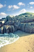 rock formation on a coastal beach county Donegal by morrbyte