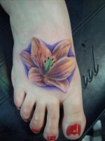 Flower tattoo on foot by hatefulss