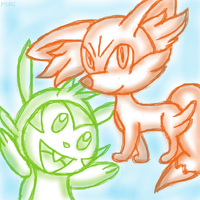 Chespin and Fennekin sketch by PokeSonFanGirl