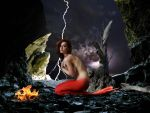 Mermaid Lidia ~ taking shelter from the storm by sirenabonita