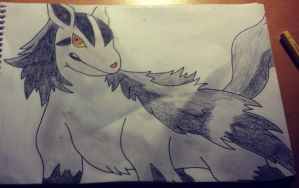 Mightyena Drawing by Krayzieee