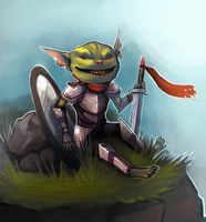 commission: Pathfinder Goblin Paladin by Serpentwined