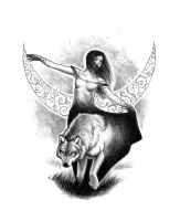 2015-08-24 - bw - the girl and the wolf by deprywacja