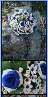 Royal Blue Roses by HanaClayWorks