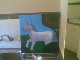 My painting of a unicorn by Fire-Z