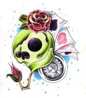 Skull, clock and roses by jerrrroen