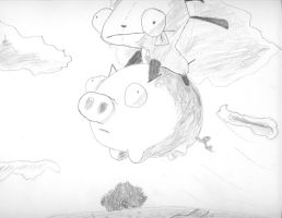 Gir flying on a Pig by ItchyBarracuda