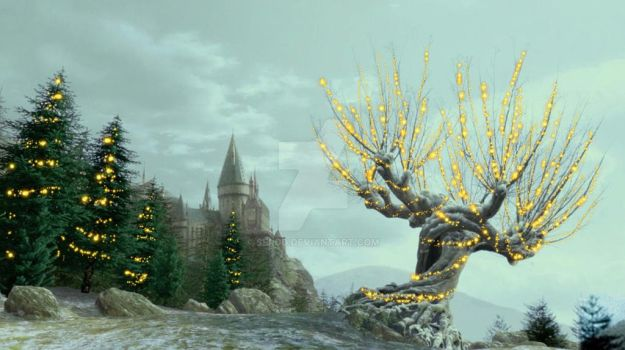 The Whomping Willow decorated for the Holidays! by SERDD