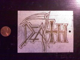 Death Logo Zinc Sheet by bassistofclosson