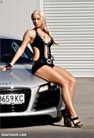 Model posing on an Audi R8 by DionPa